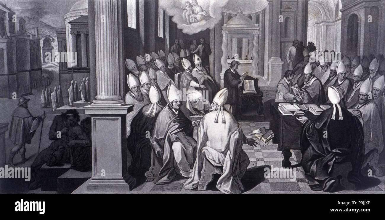 Council of Ephesus, held in 431 under Pope Celestine I and the reign of Theodosius 'the Younger', engraving on a fresco in the Vatican Library, engrav - Stock Image