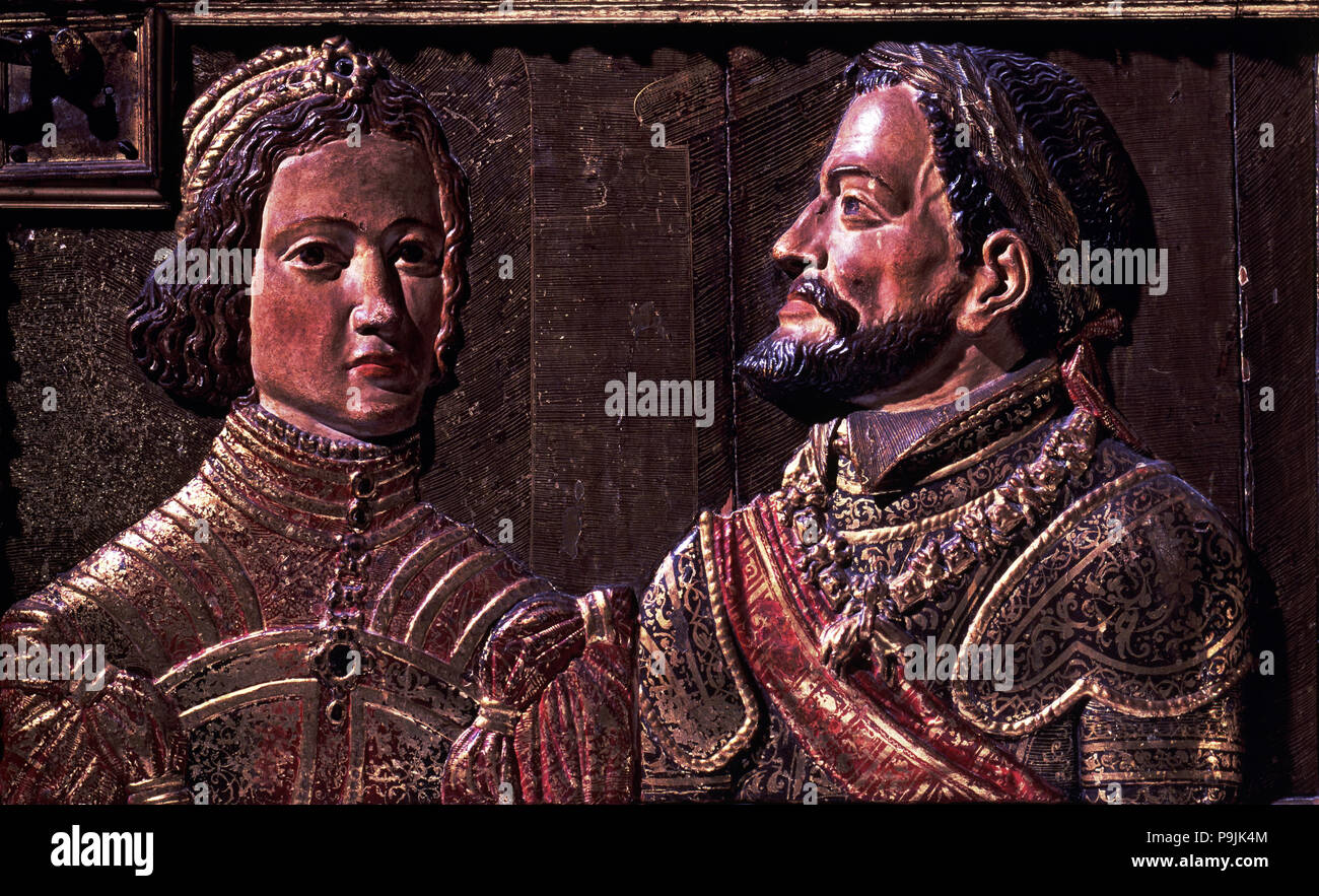 Carlos V (1500 - 1558), King of Spain and Emperor of Germany, Isabel of Portugal (1503 - 1539), embossed in gold and polychrome wooden altarpiece as a - Stock Image