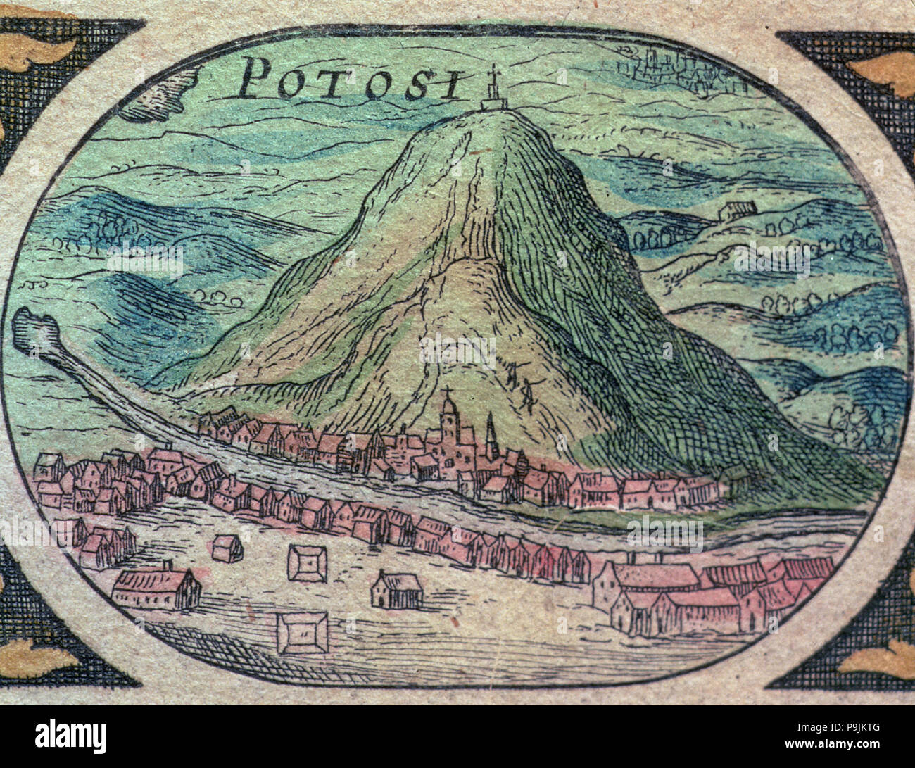 View of the city of Potosí with its famous hill, engraving in 'Nouvel Atlas', 1643. - Stock Image