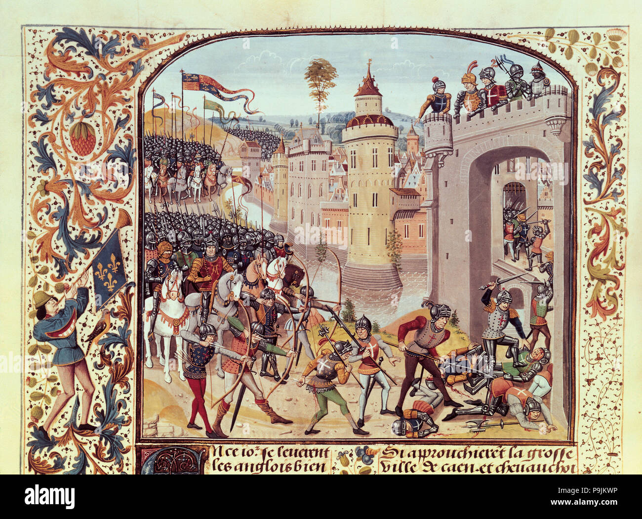 Taking of Caen by the English (1346), Miniature in 'Chroniques de France',  15th century, illuminated manuscript.