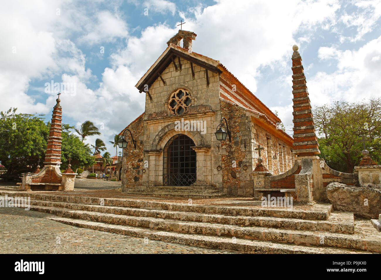 Catholic Church of St. Stanislaus, Casa de Campo, Altos de Chavón, La Romana, Dominican Republic - Stock Image