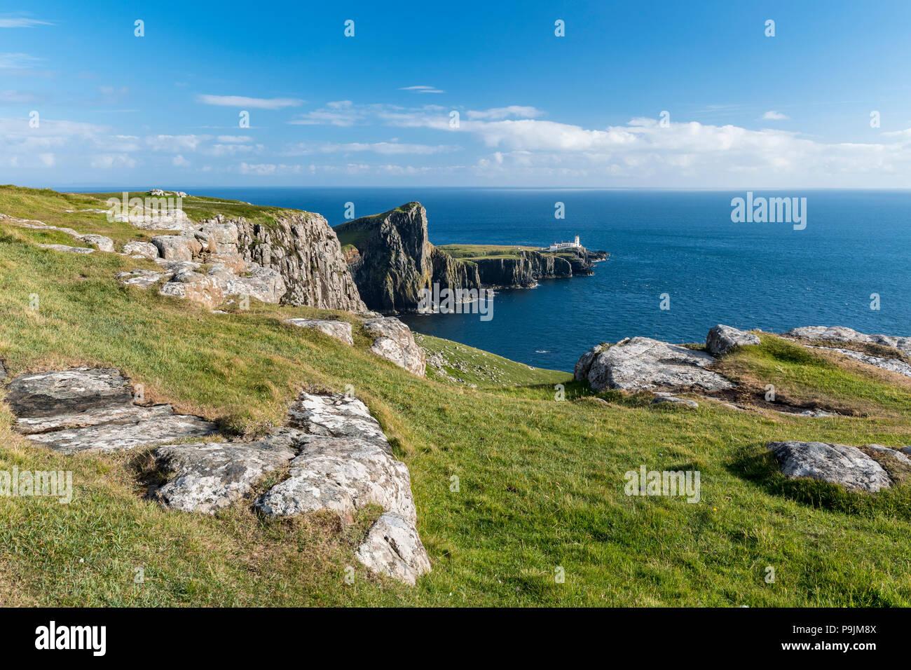 Neist Point, Lighthouse, Isle of Skye, Inner Hebrides, Scotland, United Kingdom - Stock Image