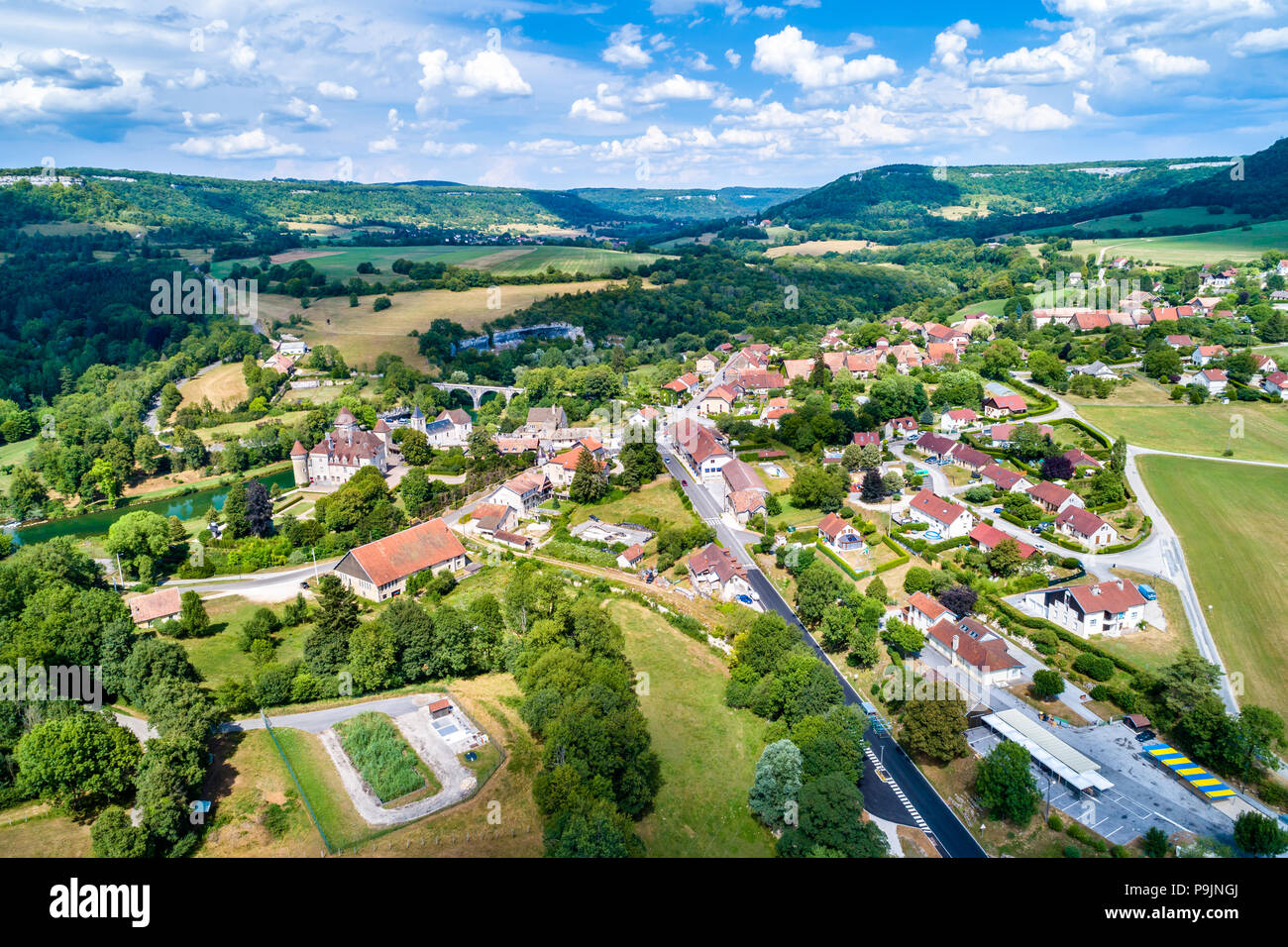 Aerial view of Cleron, a village in France famous for its castle - Stock Image
