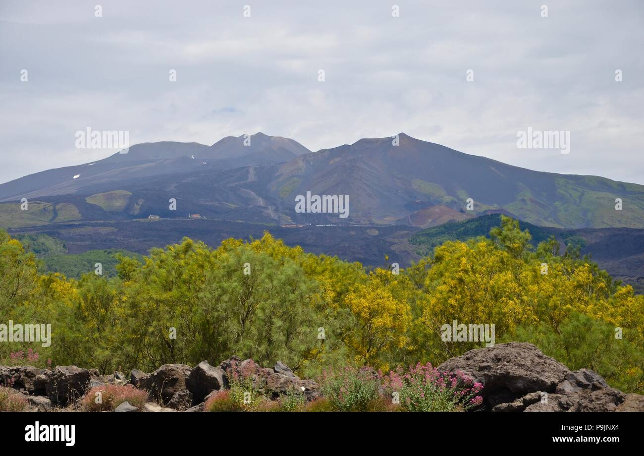 View towards Etna volcano in Sicily, unesco world heritage, landscape, lava, lava flows, nature, top, mountain, magma, vacation, imposing, impressing - Stock Image