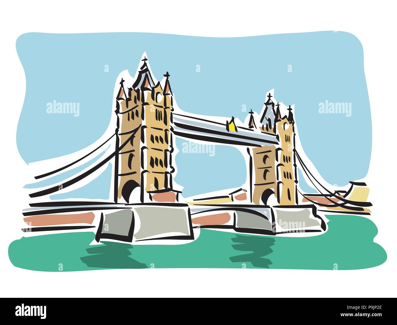 vector illustration of the Tower bridge in London - Stock Vector