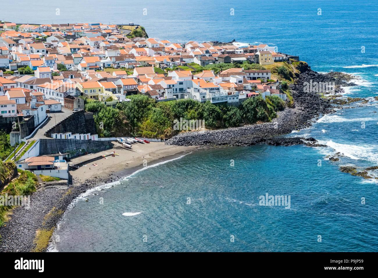 The coastal village of Maia on the north coast of Sao Miguel, Azores - Stock Image