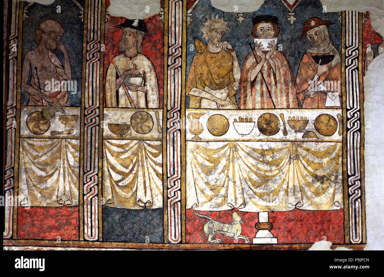 Murals in the refectory of the Canonja of the 'Seu Vella' of Lleida. 'The Canonical Pia Almoina' gave food to the poor and pilgrims. - Stock Image