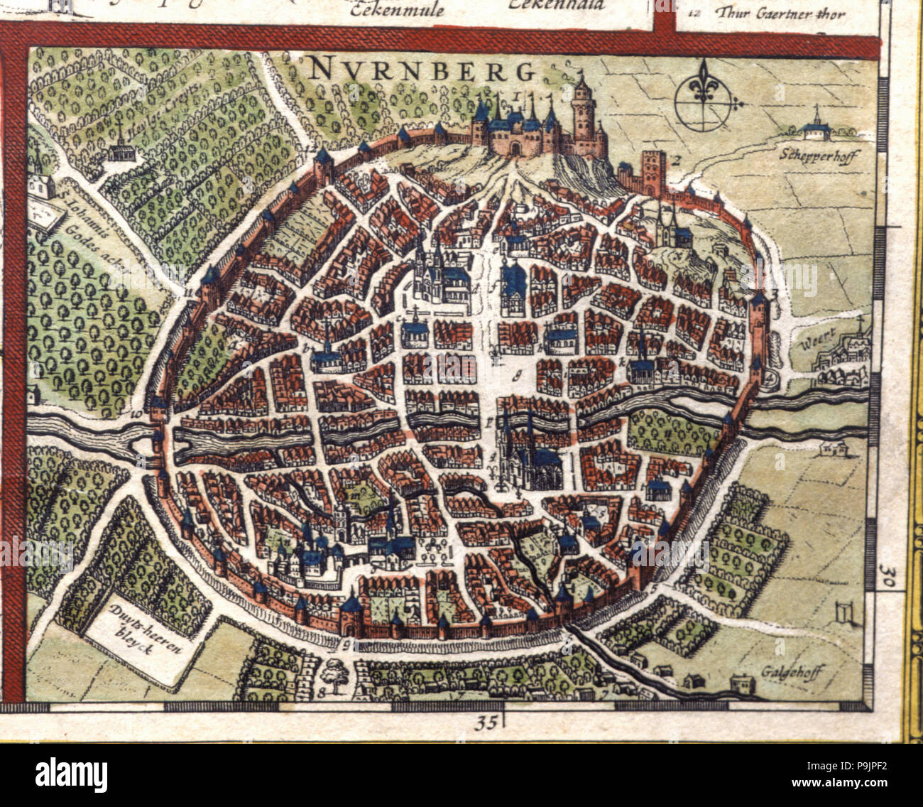 Nuremberg, colored engraving from the book 'Le Theatre du monde' or 'Nouvel Atlas', 1645, created… Stock Photo