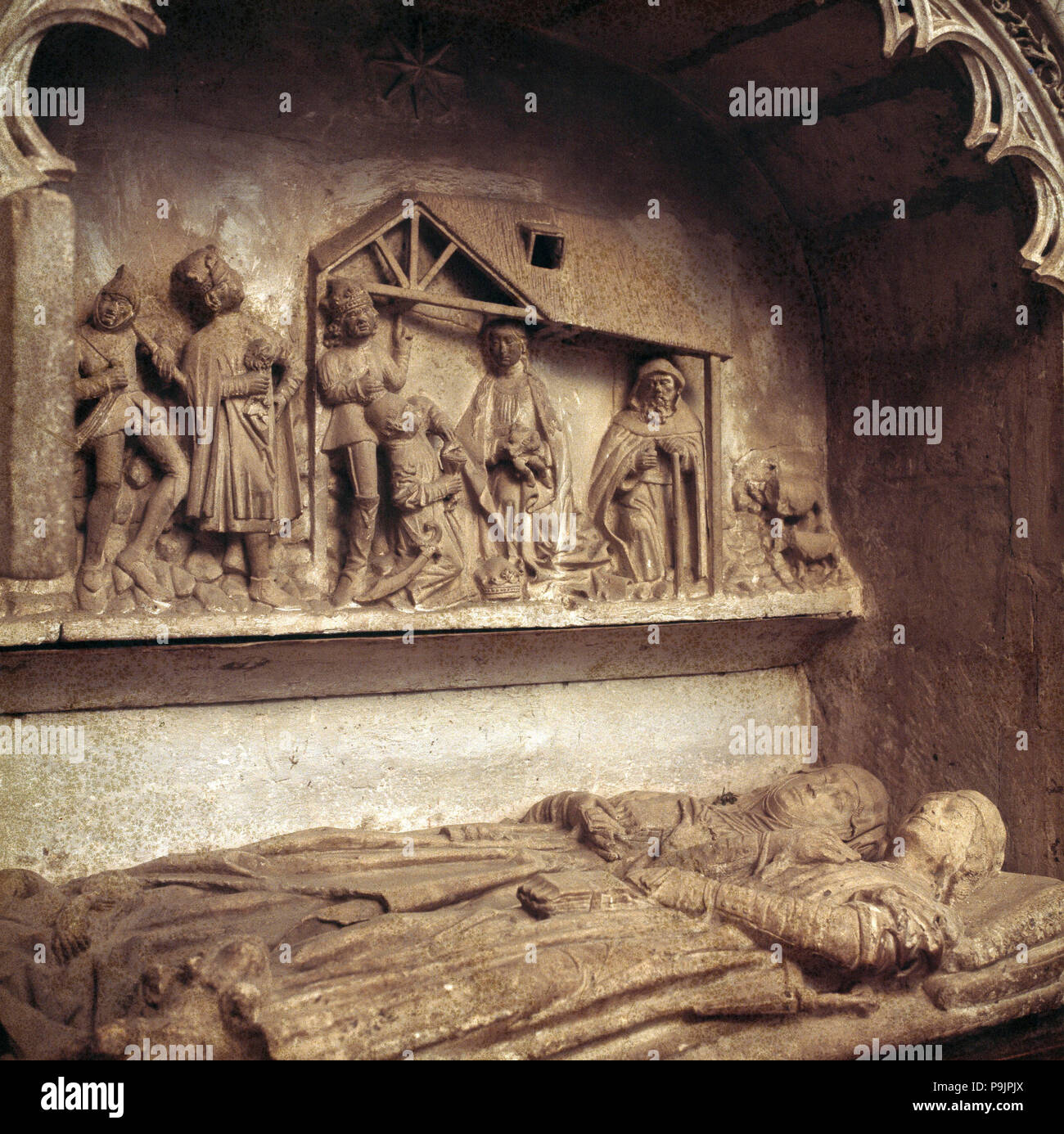 Detail of one of the tombs located in the collegiate church of Covarrubias. - Stock Image