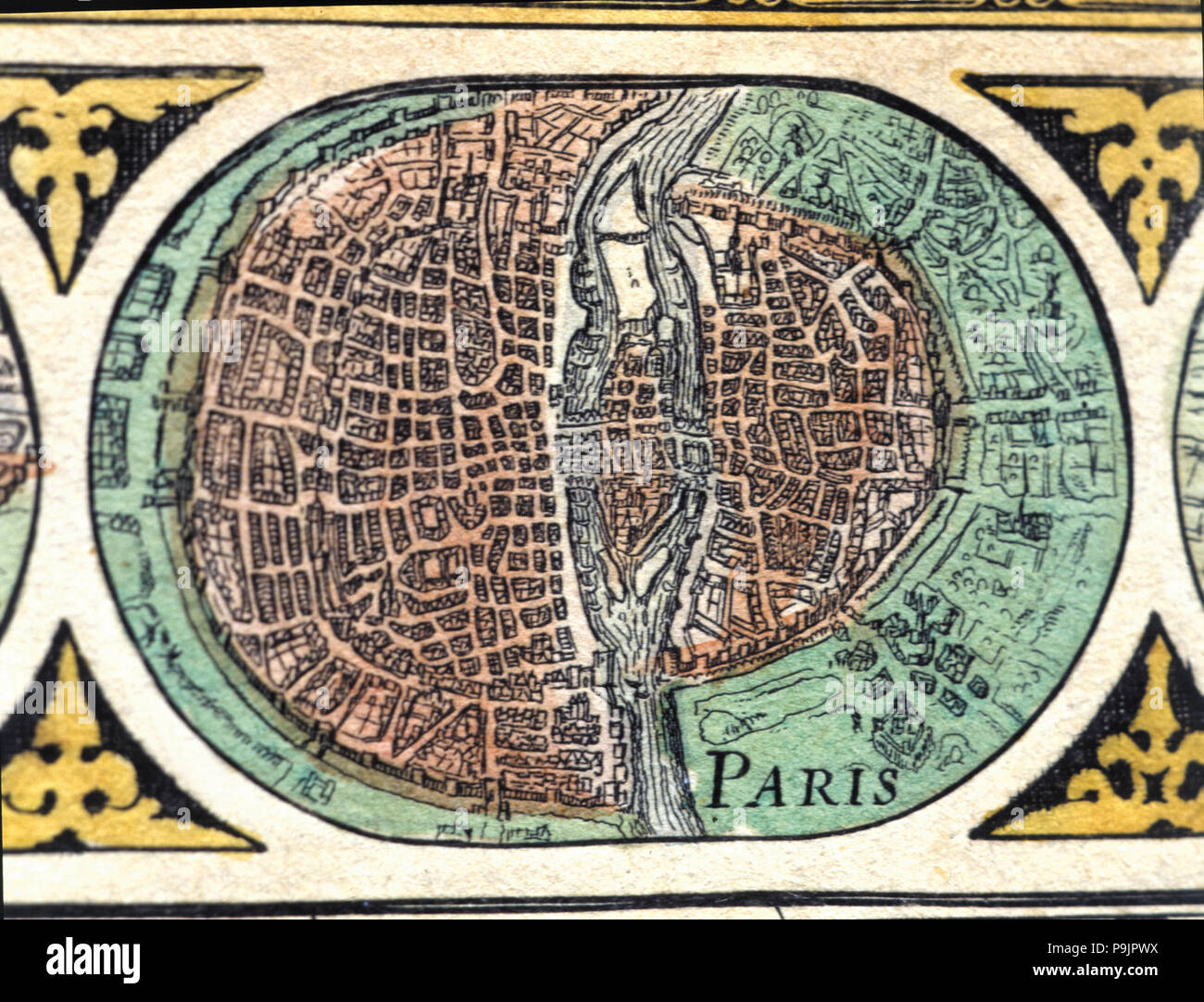 Paris, colored engraving from the book 'Le Theatre du monde' or 'Nouvel Atlas', 1645, created, pr… Stock Photo