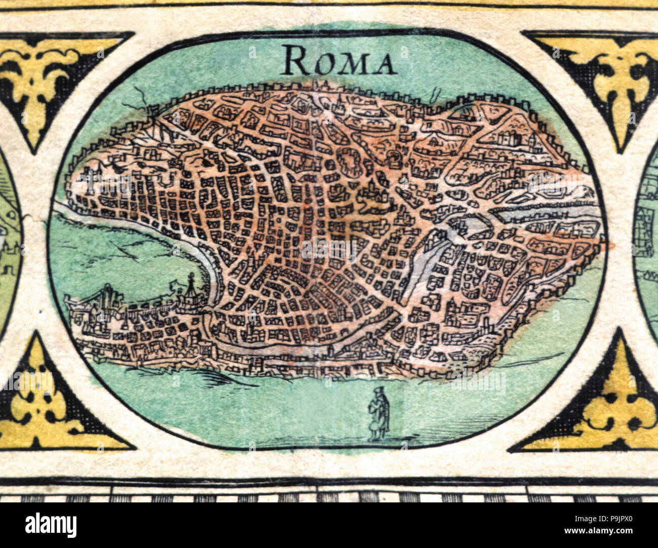 Rome, colored engraving from the book 'Le Theatre du monde' or 'Nouvel Atlas', 1645, created, pri… Stock Photo