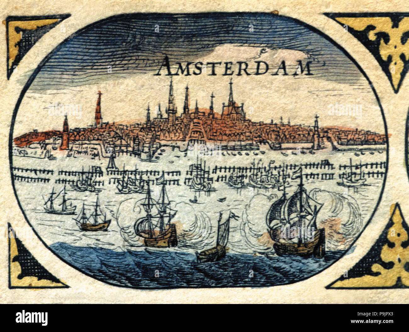 Amsterdam, colored engraving from the book 'Le Theatre du monde' or 'Nouvel Atlas', 1645, created… Stock Photo