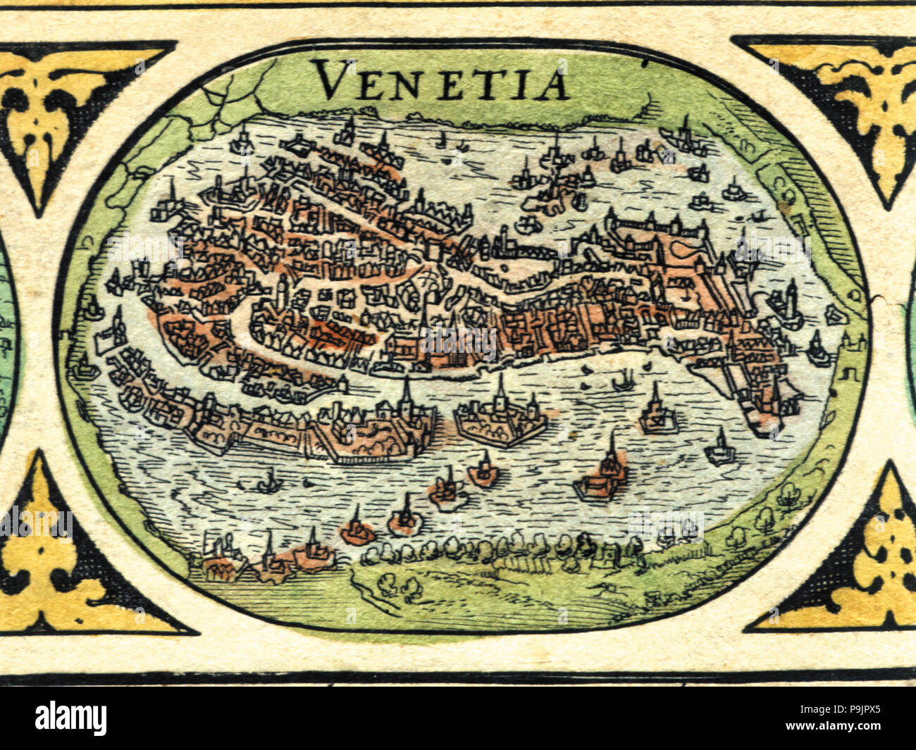 Venice, colored engraving from the book 'Le Theatre du monde' or 'Nouvel Atlas', 1645, created, p… Stock Photo