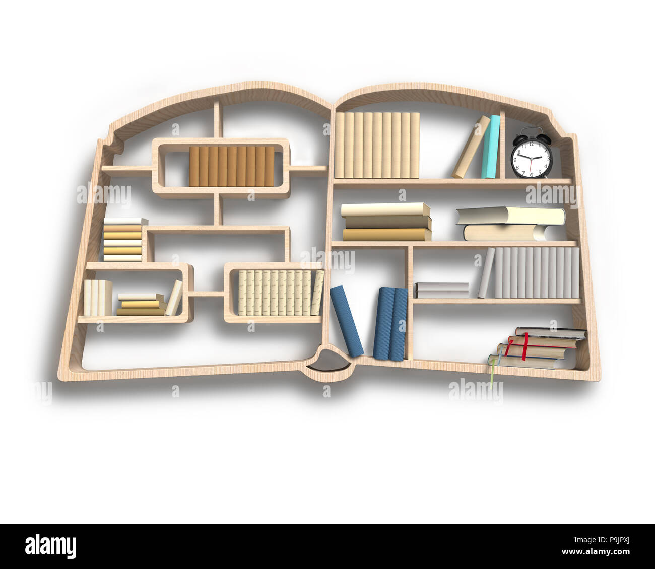 Bookshelf in book shape isolated in white background - Stock Image