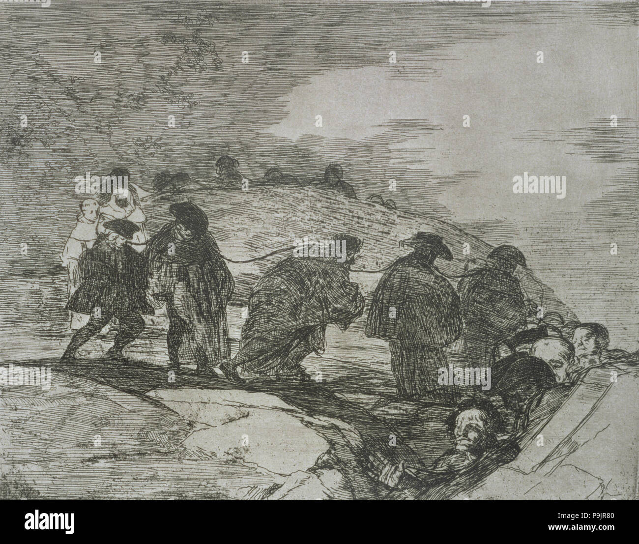The Disasters of War, a series of etchings by Francisco de Goya (1746-1828),  plate 70: 'No saben el camino' (They do not know the way), first edition,