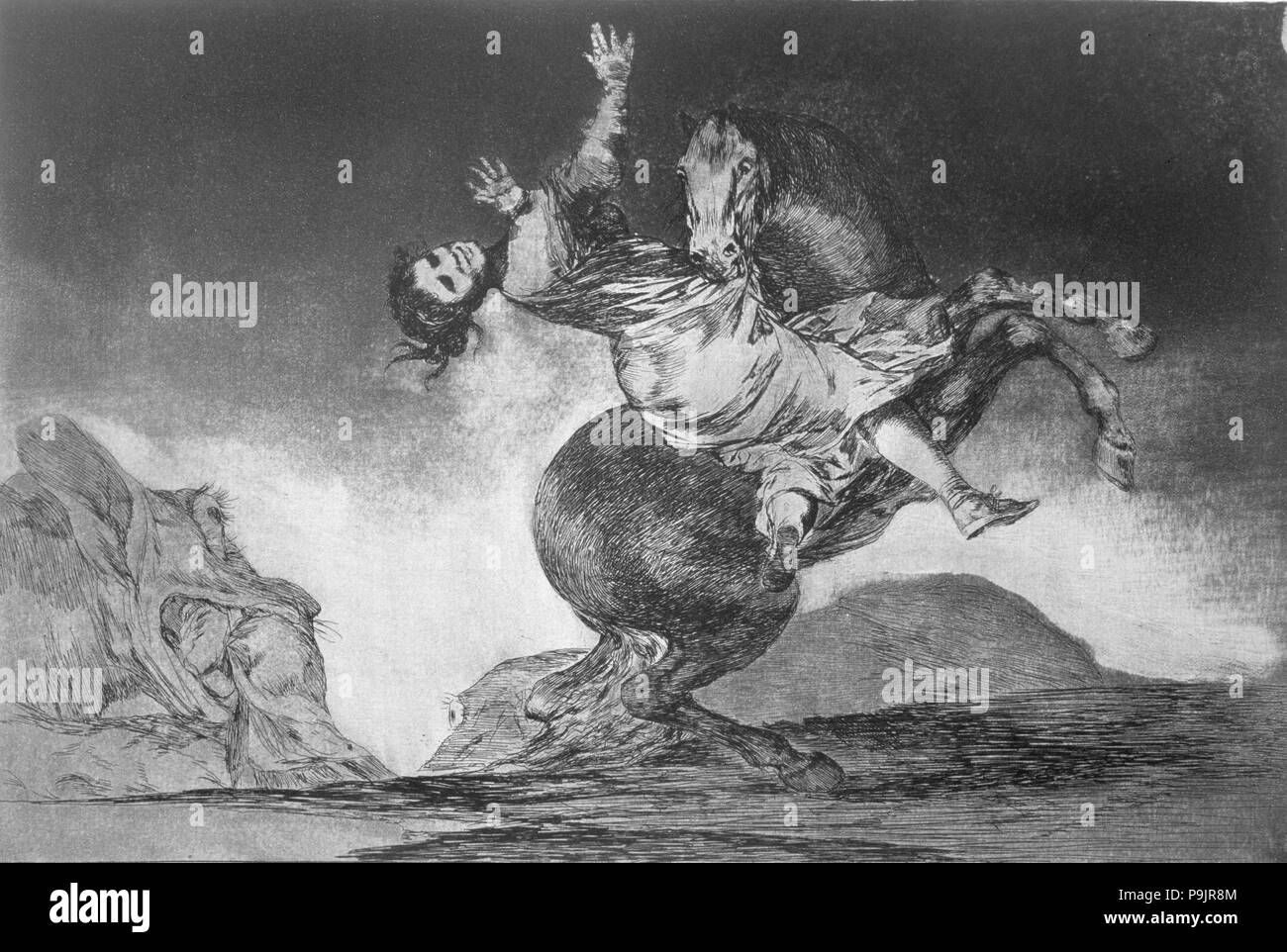 The Proverbs or The Follies, series of etchings by Francisco de Goya, plate 10: 'El caballo rapto… Stock Photo