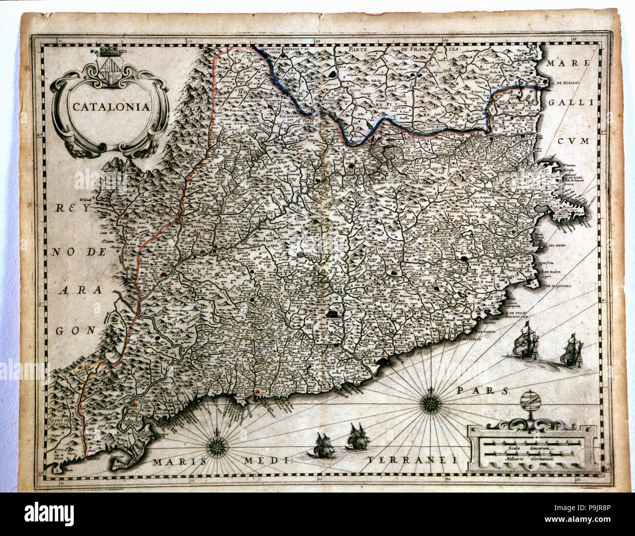 Colored map of Catalonia, from the 'Geographia Blaviana' or 'Theatrum Orbis sive Terrarum Atlas N… Stock Photo