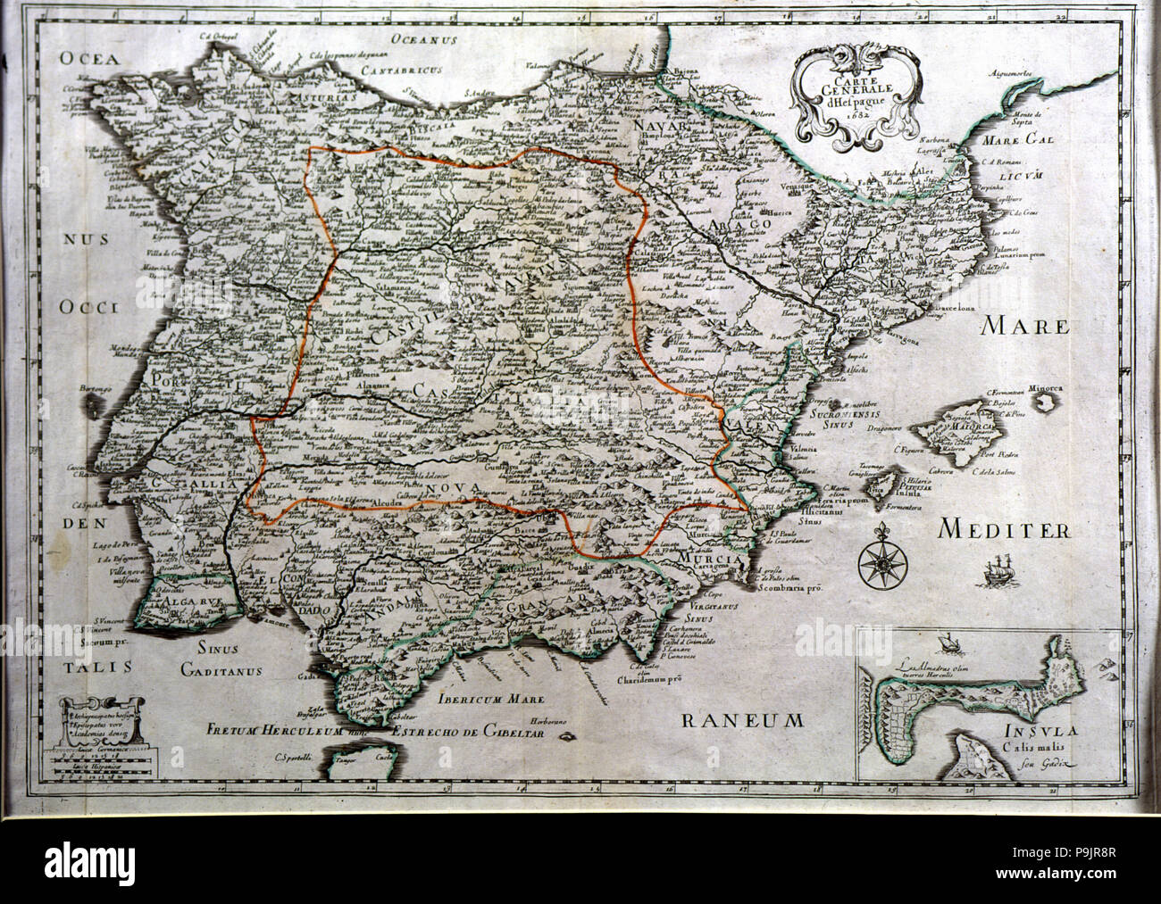 Colored map of Spain, 1682, with the island and tunny fisheries of Cadiz in a box. Stock Photo