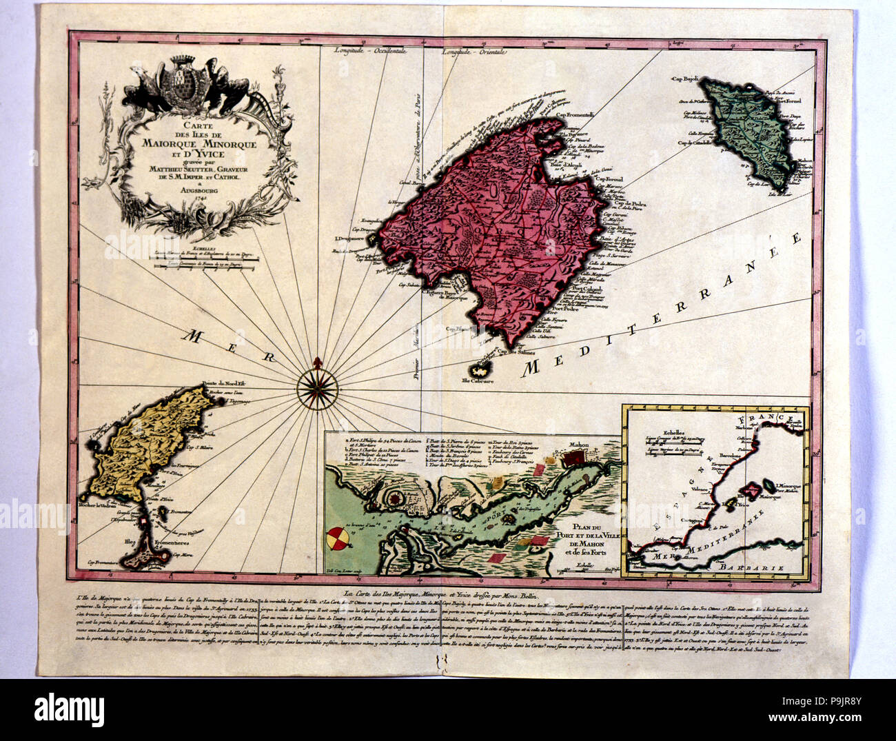 Map of the Majorca, Menorca and Ibiza islands, in hand engraving and colored, with a box showing … Stock Photo
