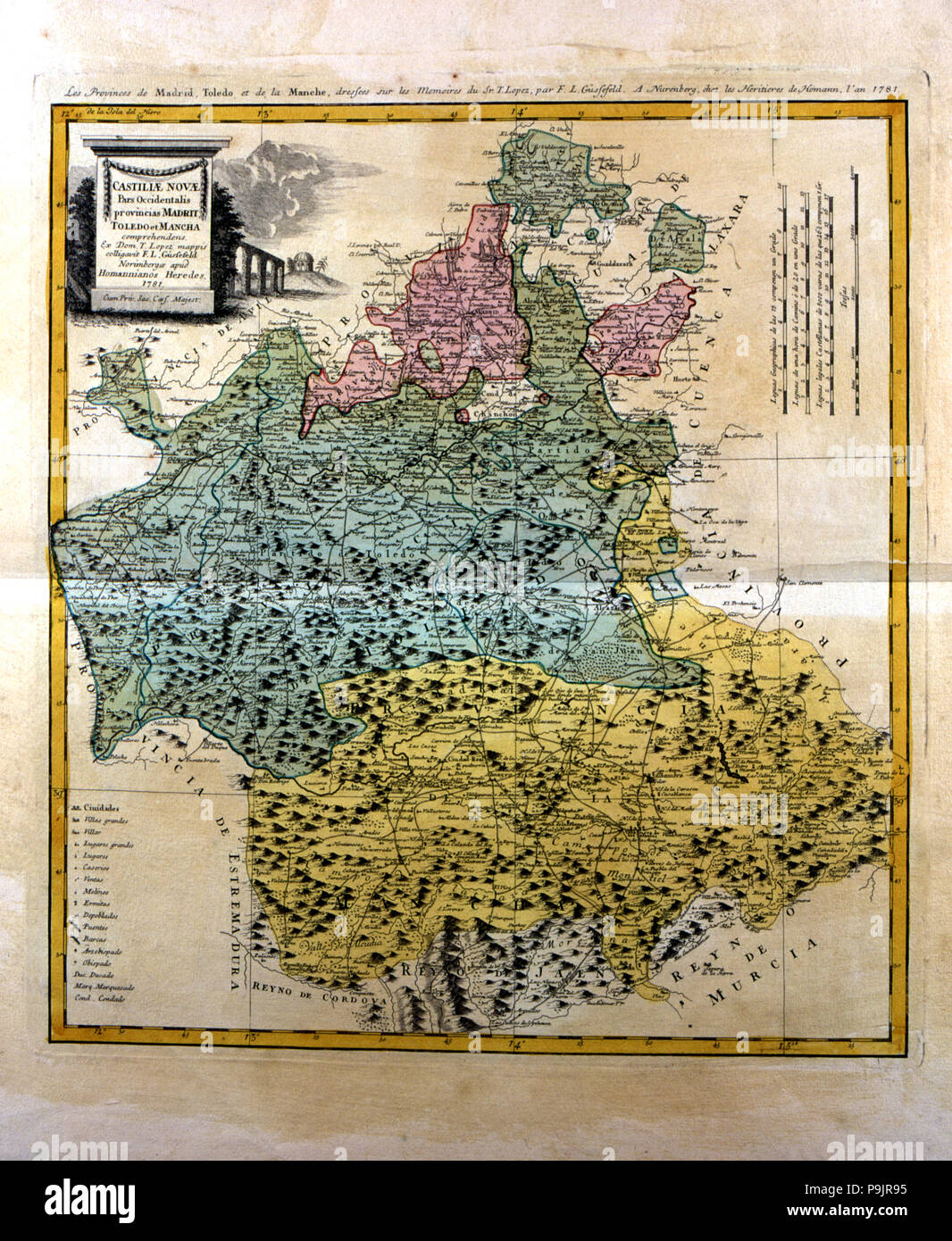 Colored map of Madrid and Castilla - La Mancha, engraved in Nuremberg 1781 by the heirs of Homann… Stock Photo