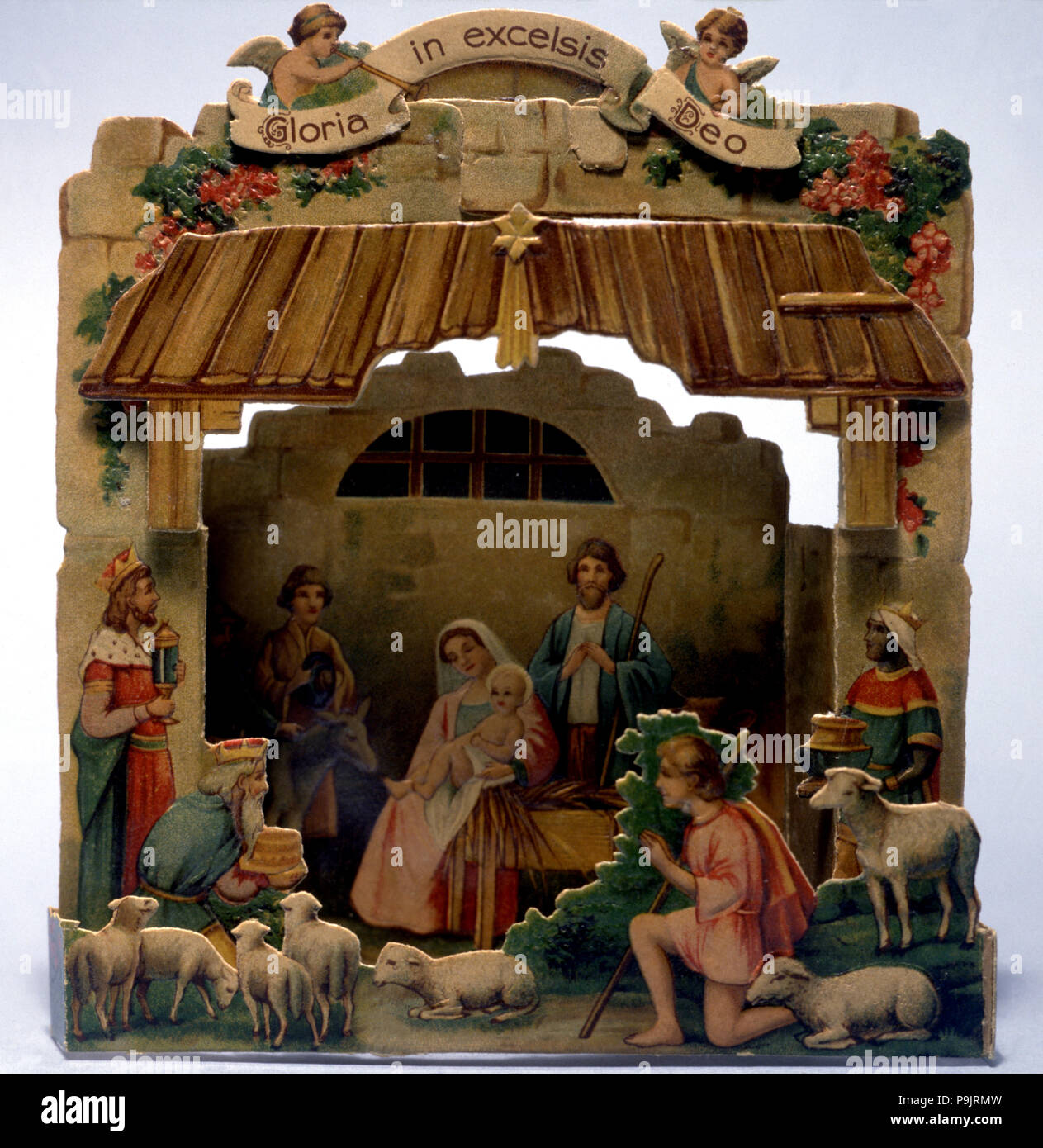 Die-cut nativity scene used as a Christmas card Stock Photo ...