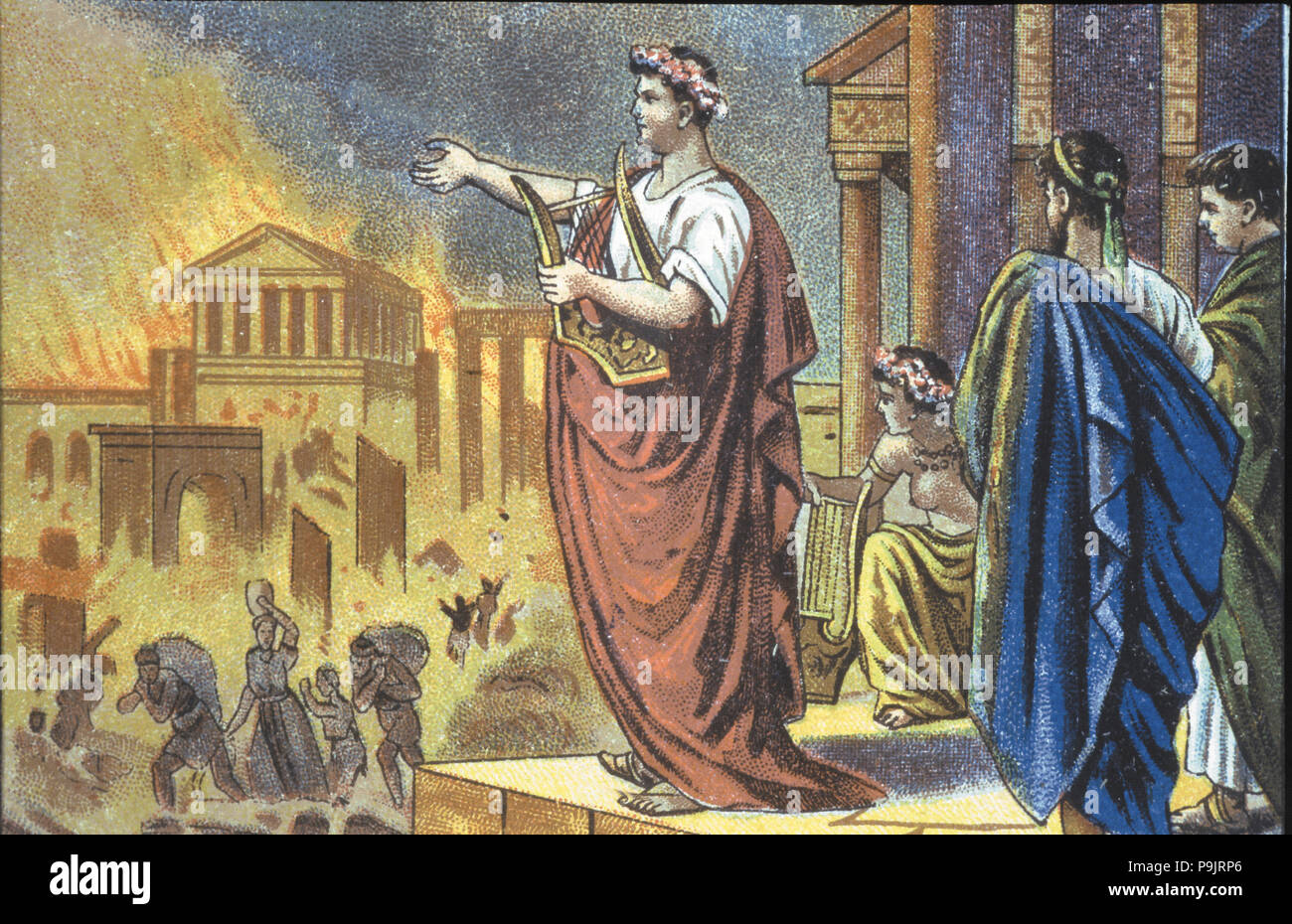 Fire of Rome ordered by the Emperor Nero in 64 AD, coloured engraving. - Stock Image