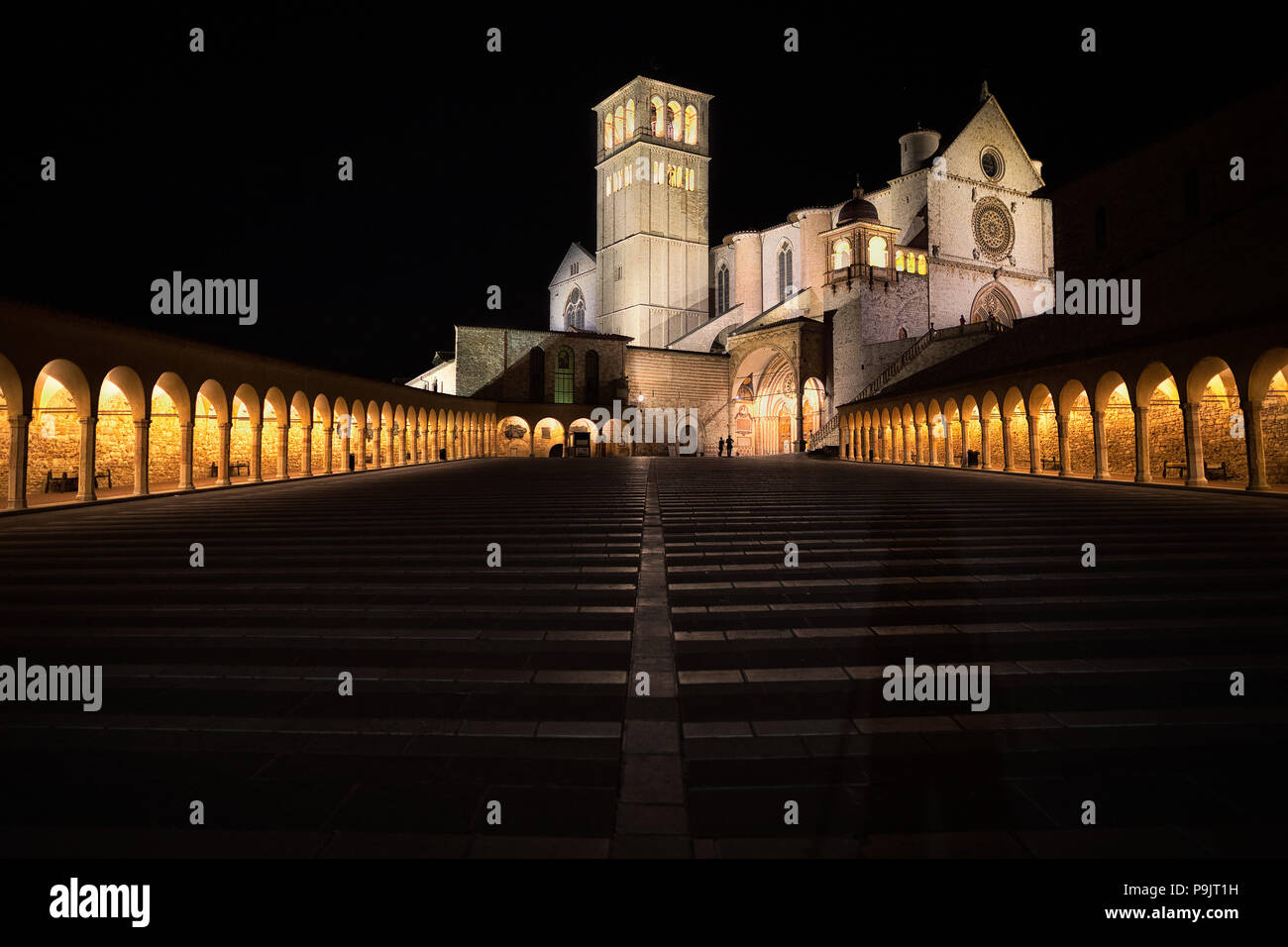 Cathedral of Assisi by night, Umbria- italy - Stock Image