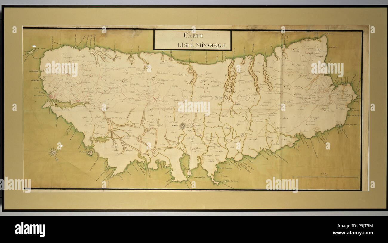 Manuscript map painted in gouache of the island of Menorca with names, Menorca language, Spanish … Stock Photo