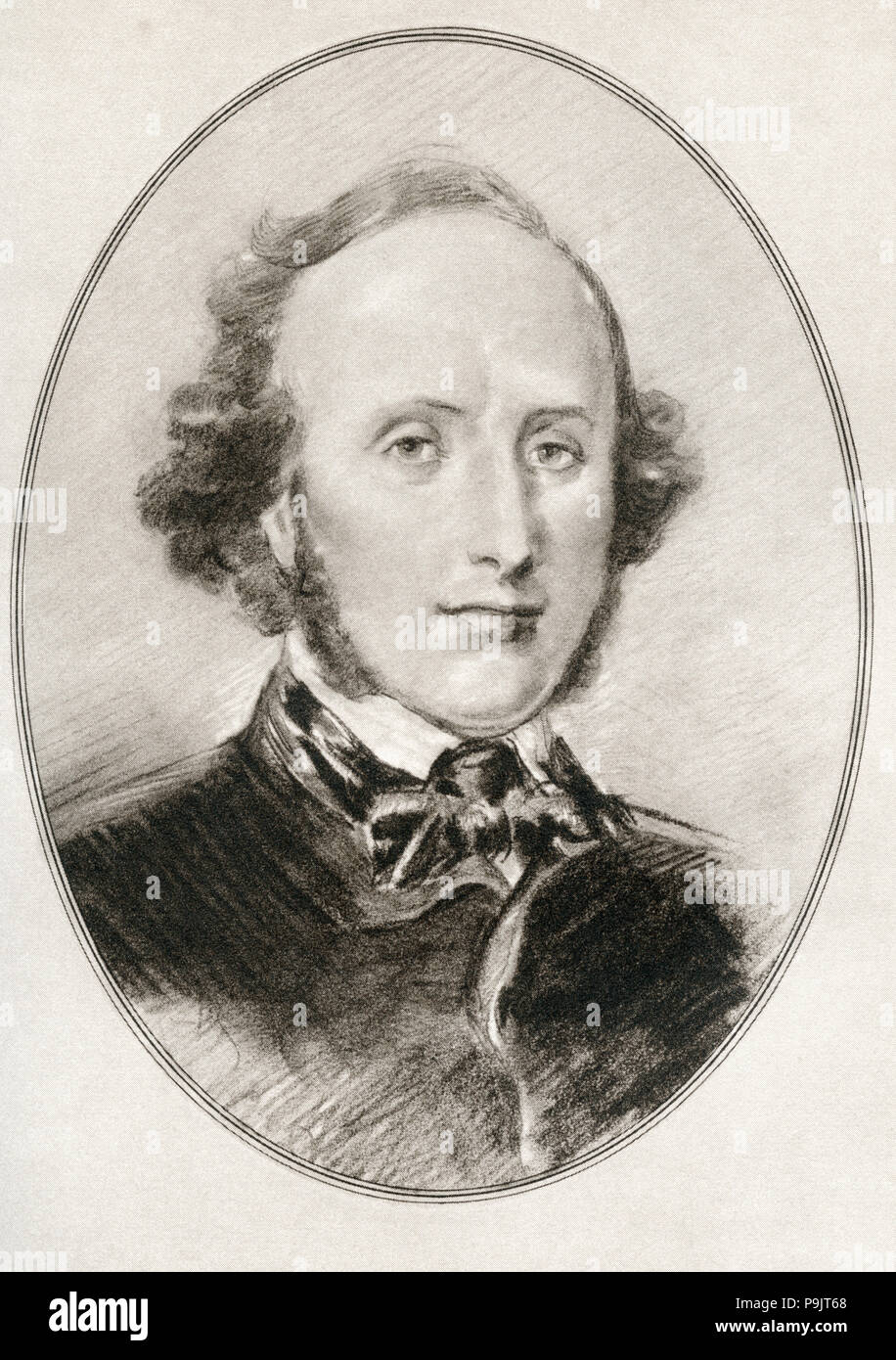 Jakob Ludwig Felix Mendelssohn Bartholdy, 1809 –1847, born as Felix Mendelssohn.  German composer, pianist, organist and conductor of the early romantic period. Illustration by Gordon Ross, American artist and illustrator (1873-1946), from Living Biographies of Great Composers. - Stock Image