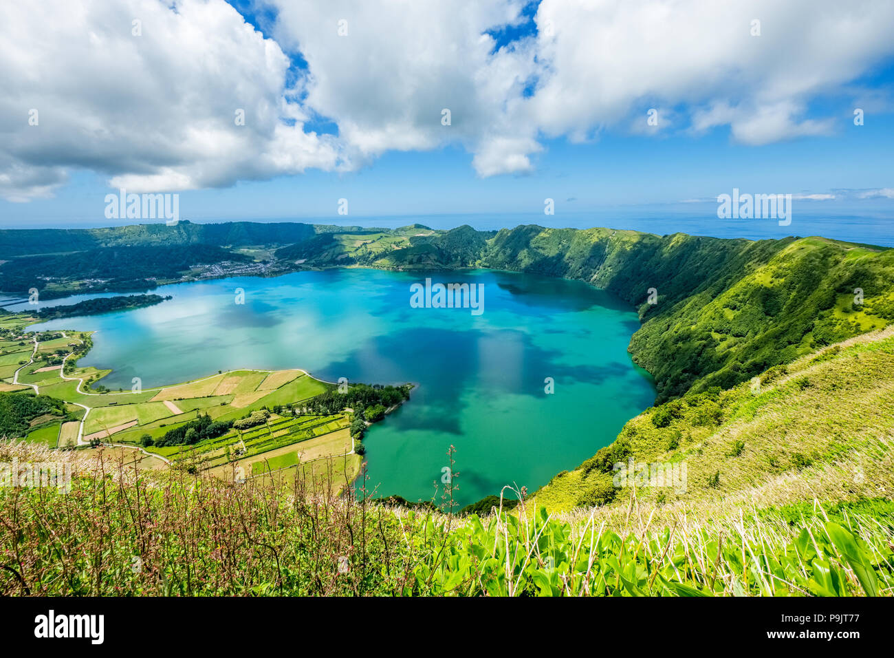 Sete Cidades, two lakes and a village in the dormant crater of a volcano on the island of Sao Miguel, The Azores - Stock Image