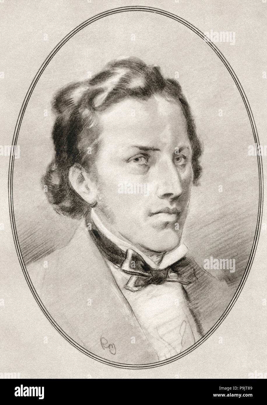 Frédéric François Chopin, 1810 – 1849.  Polish composer and virtuoso pianist of the Romantic era.  Illustration by Gordon Ross, American artist and illustrator (1873-1946), from Living Biographies of Great Composers. - Stock Image
