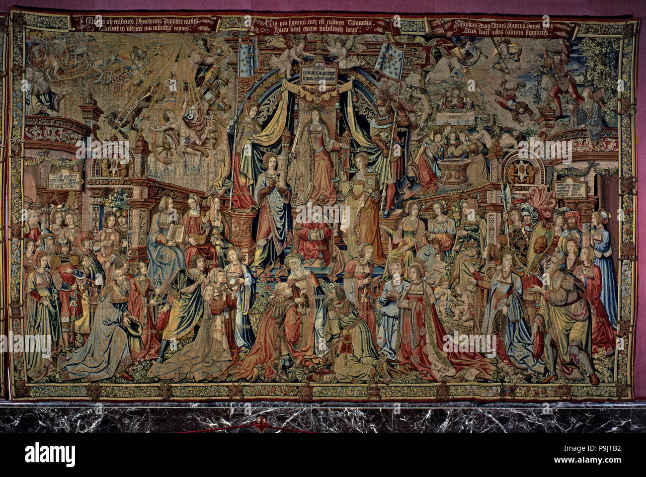 Honours'. 'Justice', tapestry 7: Core allegory centered on a throne and assisted by the Temperance and the Strength. Their flags are carried by Scipio - Stock Image