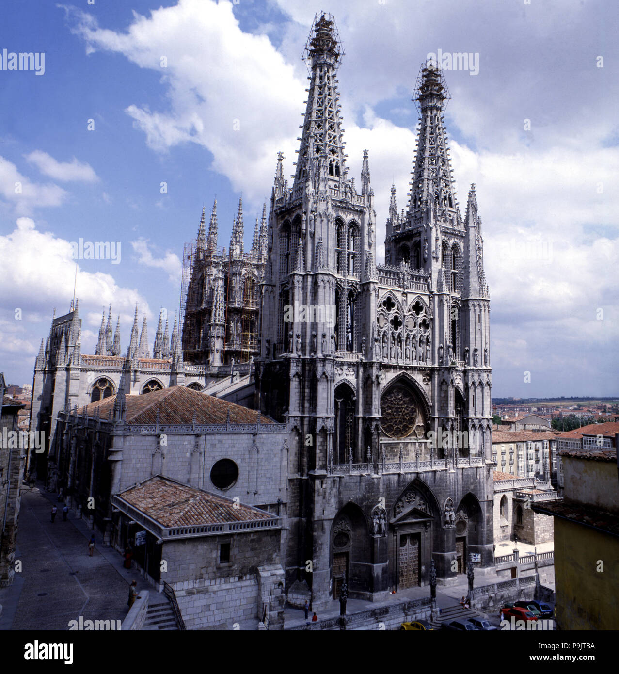 View of the Cathedral of Burgos, begun in 1221 and completed in the 15th century. - Stock Image