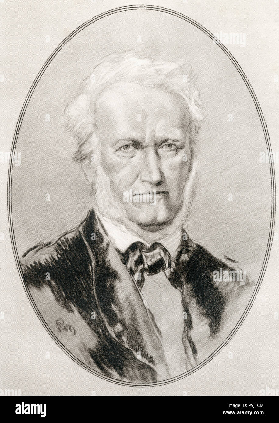 Wilhelm Richard Wagner, 1813 – 1883.  German composer, theatre director, polemicist, and conductor.   Illustration by Gordon Ross, American artist and illustrator (1873-1946), from Living Biographies of Great Composers. Stock Photo
