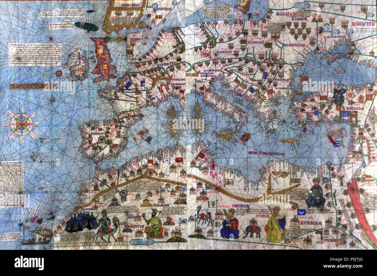 Catalan Atlas (1375). Europe and North Africa. Reproduction of the original one that is located i… Stock Photo