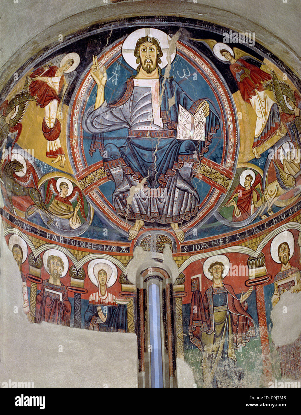 Pantocrator in the apse of the church of Sant Climent de Taüll in the Vall de Boi (Boi Valley), Alta Ribagorça. - Stock Image