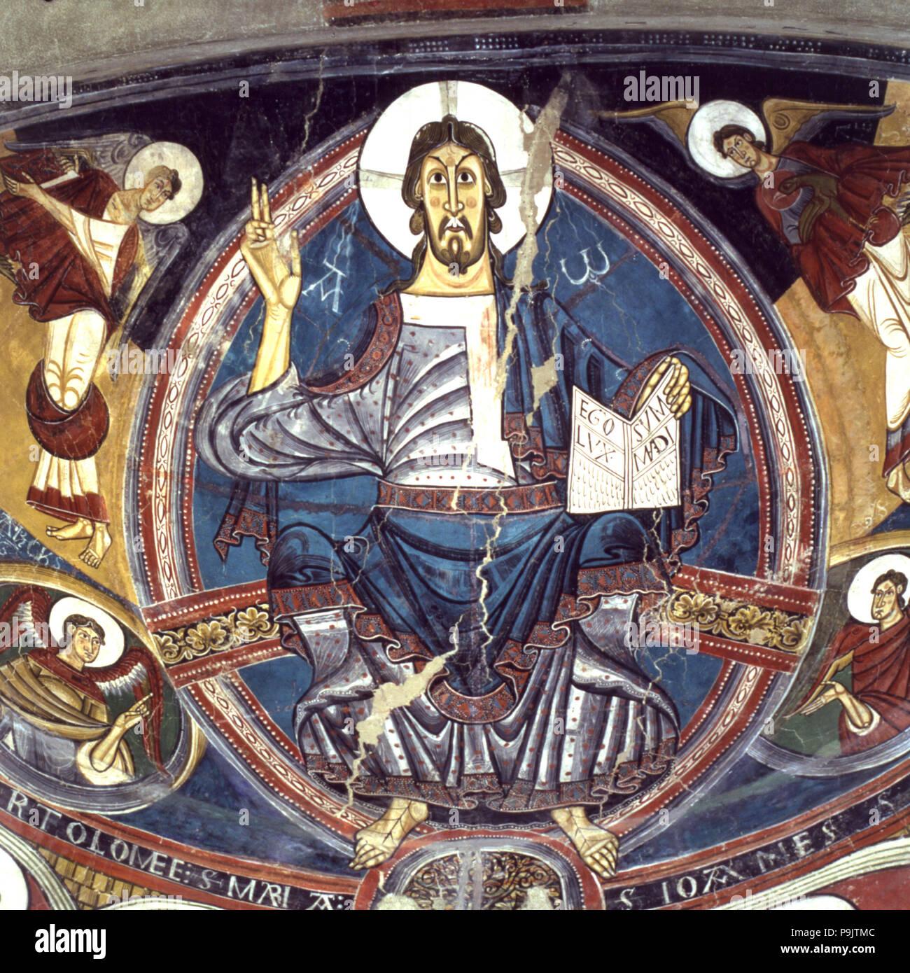 Apse of the church of Sant Climent de Taüll in Vall de Boi (Boi Valley), Alta Ribagorza. - Stock Image