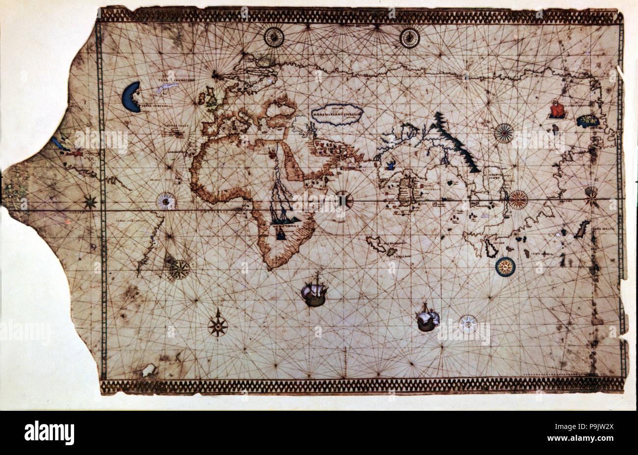 Nautical chart called 'King-Hamy', 1502, attributed to Amerigo Vespucci. Stock Photo