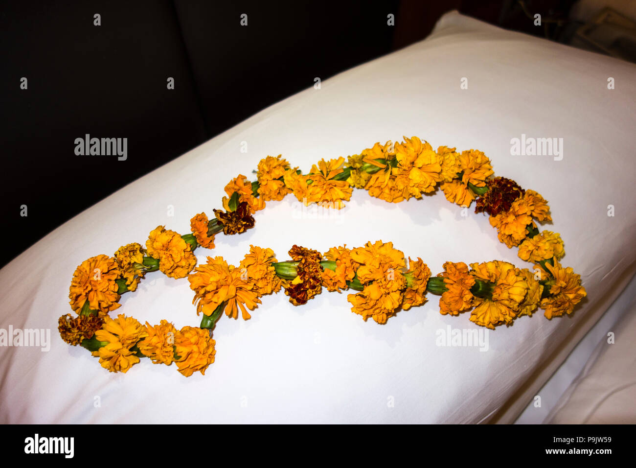 Indian flower garland to honor guests on a pillow at a hotel in New Delhi, Delhi, India - Stock Image