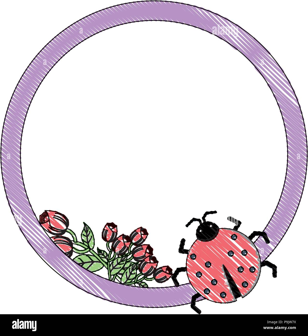 decorative frame with roses and ladybug icon over white background ...