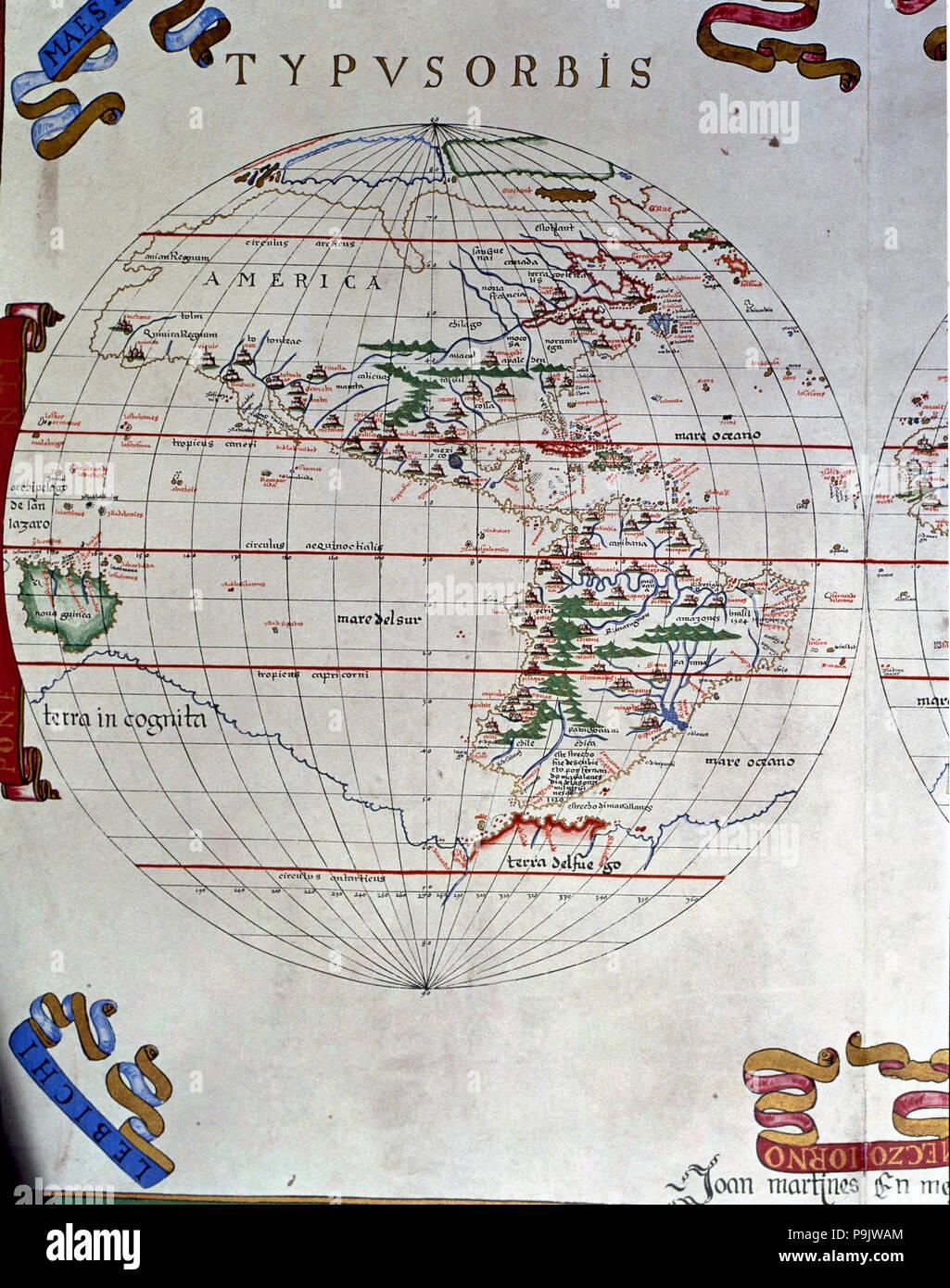 Atlas of Joan Martines, Messina, 1582. Portulan chart of the Americas. Stock Photo