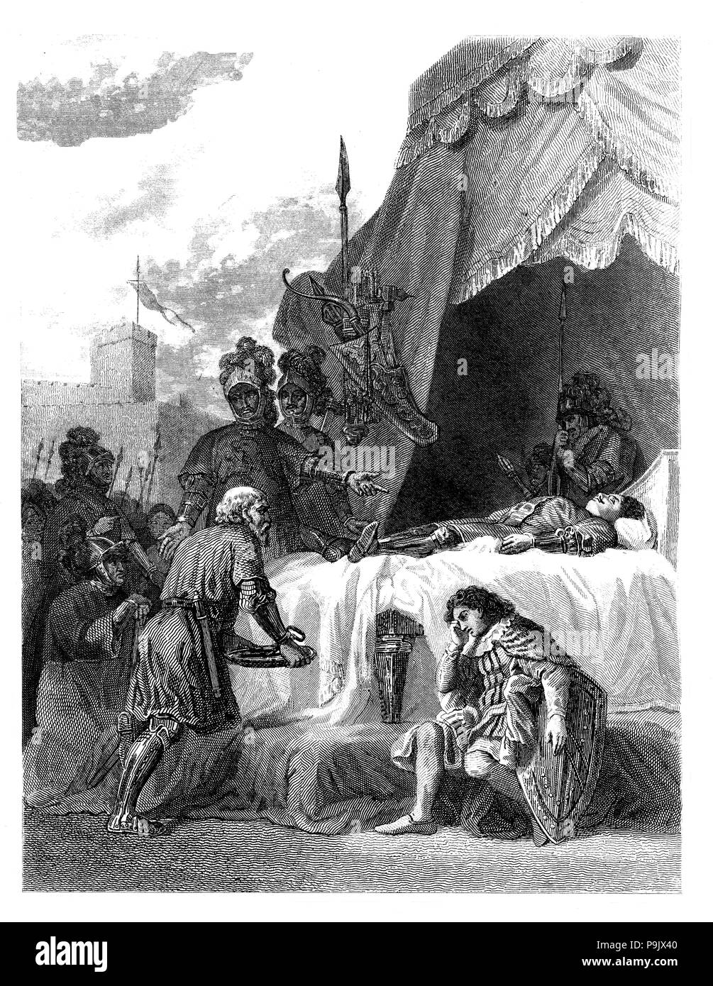 Funeral of Bertran Duguesclin (1320-1380), French marshal, engraving from 1853. - Stock Image