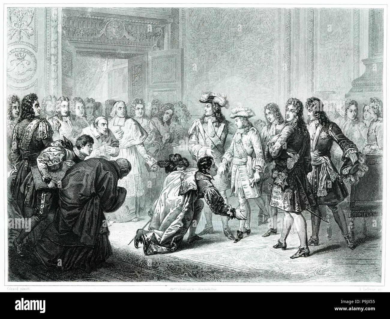 The Duke of Anjou, Philip V of Bourbon (1683-1746) declared King of Spain  on 16 November 1700, engraving from 1853.
