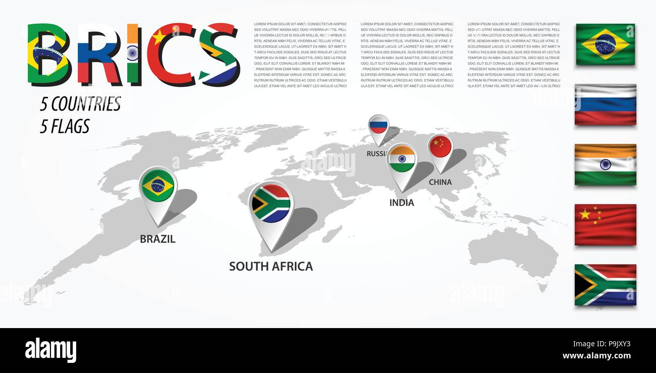 Brics association of 5 countries brazil russia india china brics association of 5 countries brazil russia india china south africa perspective world map and gps navigator location pin with nati gumiabroncs Images
