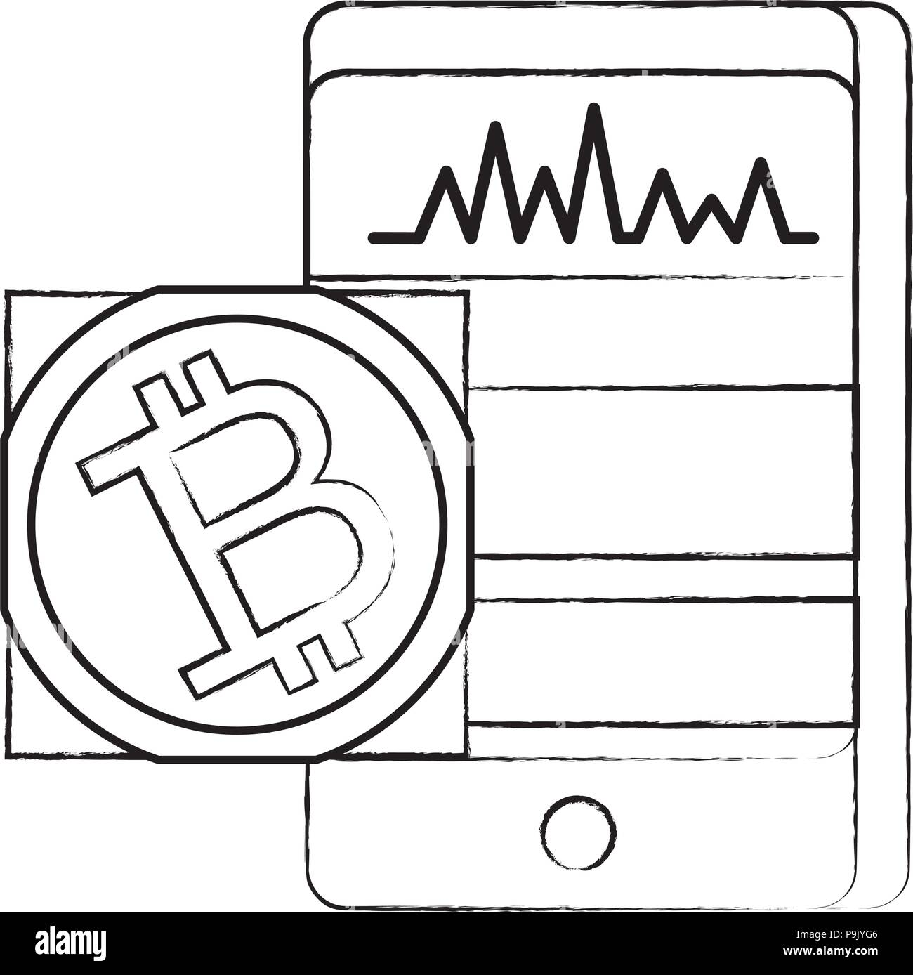 Cellphone And Bitcoin Symbol Icon Over White Background Vector
