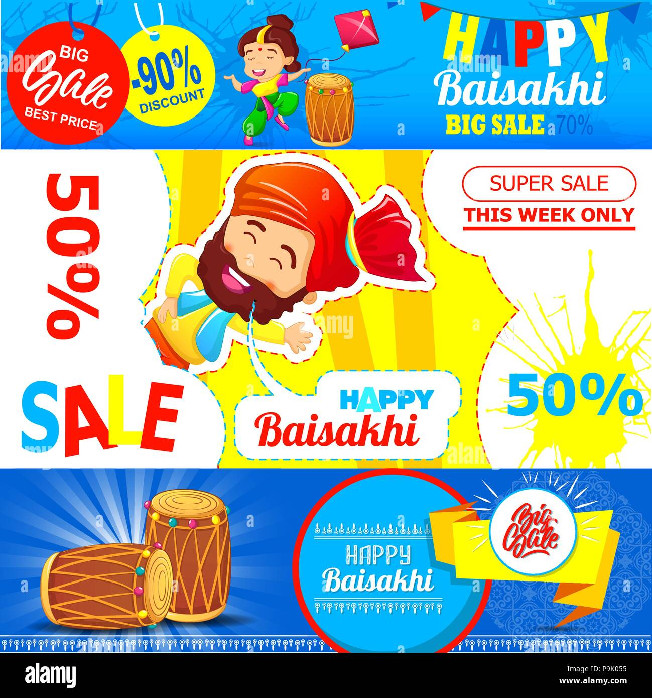 Baisakhi festival sales banner set cartoon style - Stock Vector