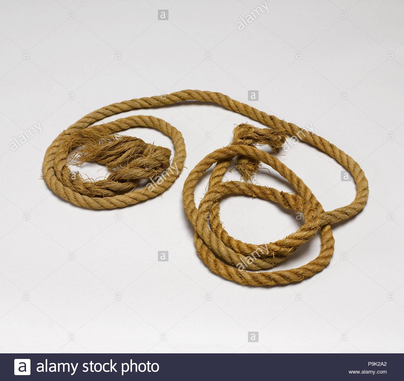Rope, Middle Kingdom, Dynasty 11, ca. 2030–1640 B.C., From Egypt, Upper Egypt, Thebes, Deir el-Bahri, Tomb of Aashyt (DBXI.17), 1920–21, Linen, 256 cm long. - Stock Image