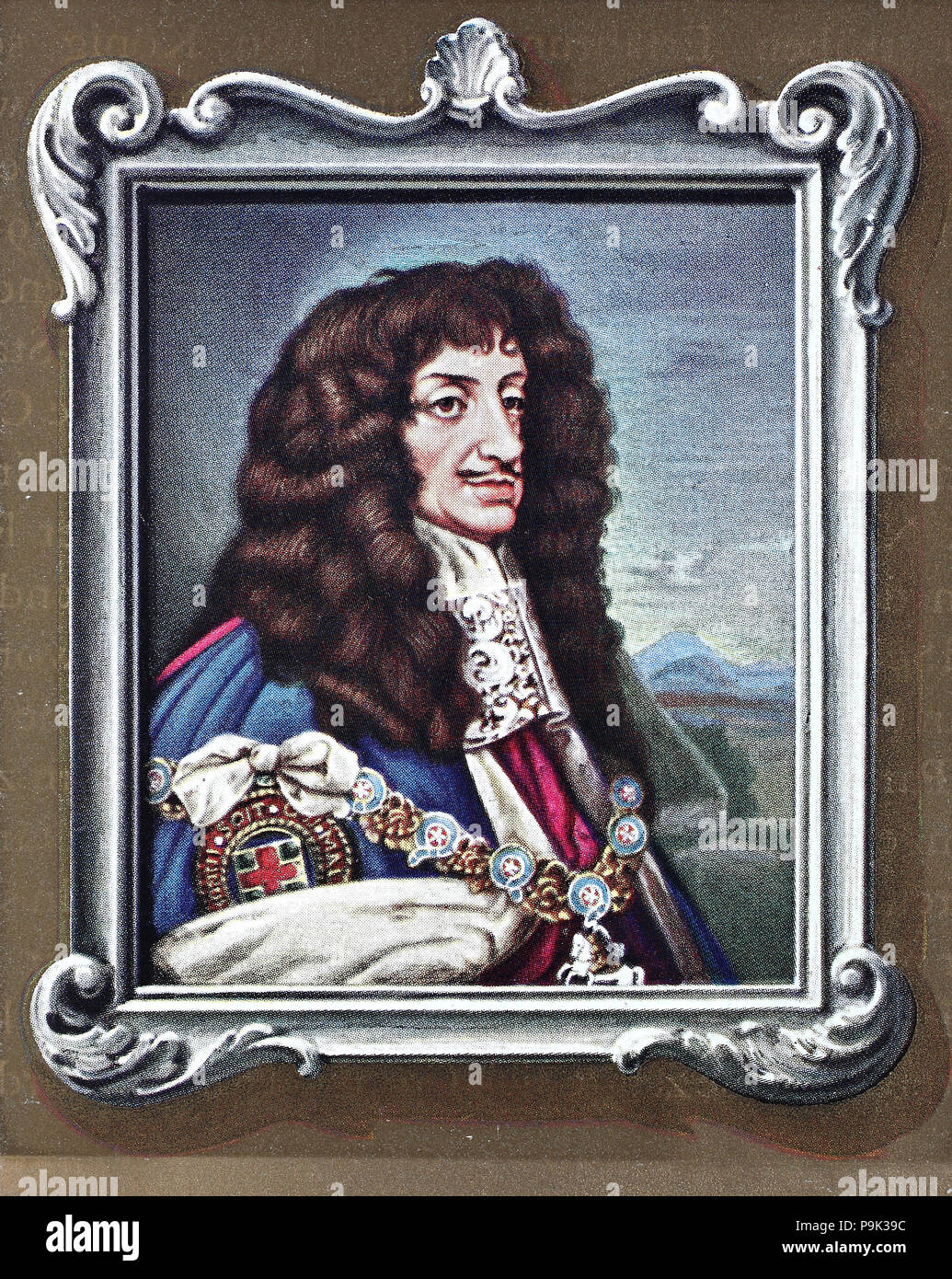 Charles II, 29 May 1630 – 6 February 1685, was king of England, Scotland and Ireland. He was king of Scotland from 1649 until his deposition in 1651, and king of England, Scotland and Ireland from the restoration of the monarchy in 1660 until his death, digital improved reproduction of an original print from the year 1900 - Stock Image