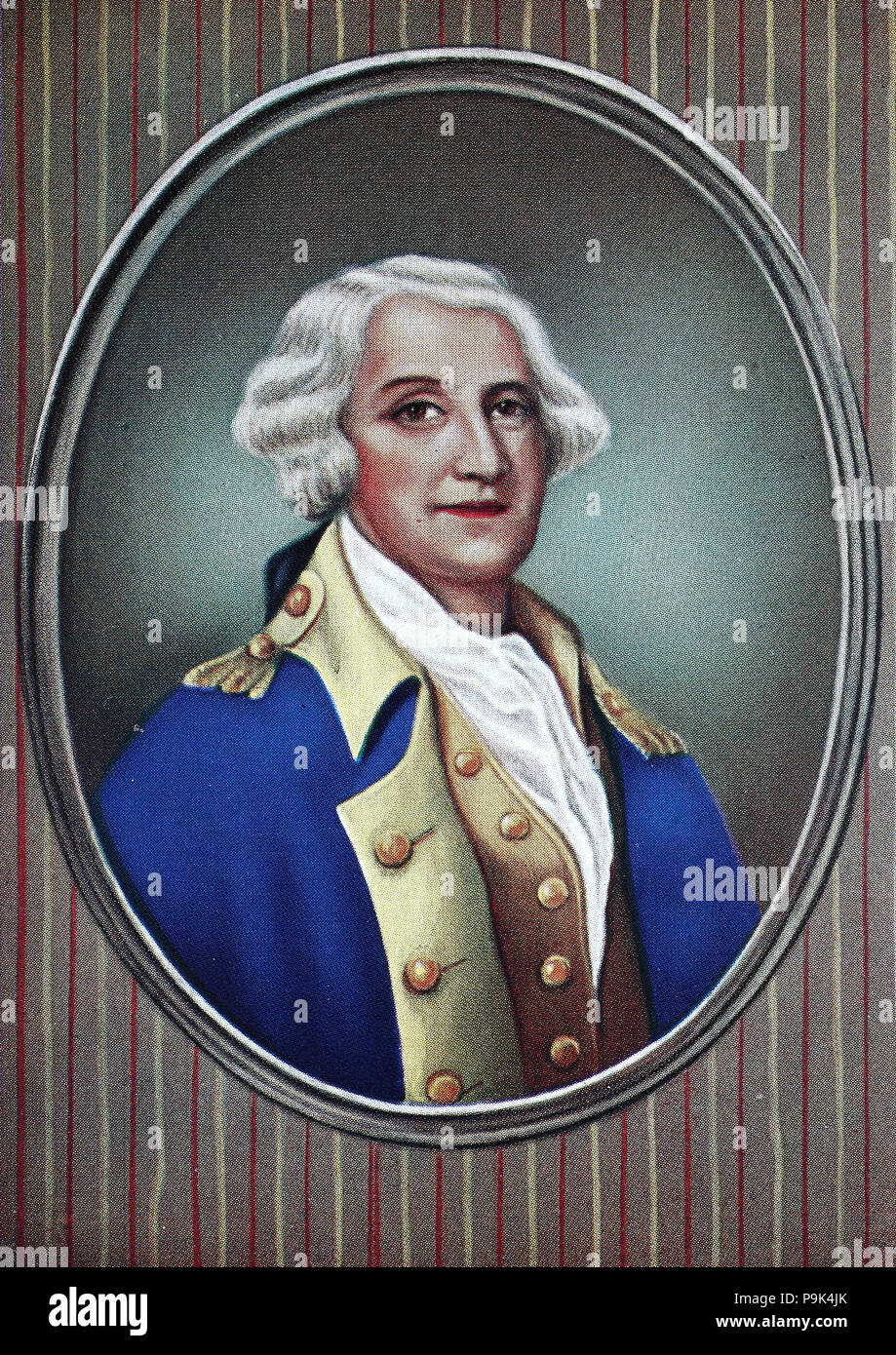 George Washington, February 22, 1732 – December 14, 1799, was an American soldier, farmer, land investor, politician, and statesman who served from 1789 to 1797 as the first President of the United States, and became known as the Father of His Country, digital improved reproduction of an original print from the year 1900 - Stock Image