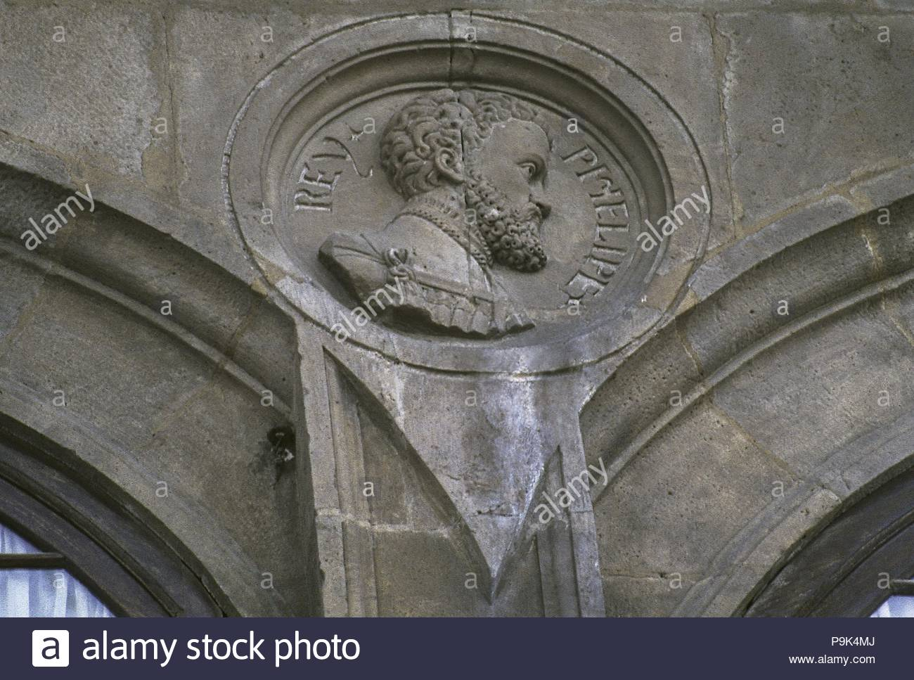 Philip II of Spain (Valladolid, 1527-El Escorial, 1598). King of Spain (1556-1598) and Portugal (1580-1598) as Philip I. Called 'the Prudent'. Medallion with the effigy of the king on the facade of the Town Hall of Santa Cruz de la Palma, 16th century. Province of Santa Cruz de Tenerife, Canary Islands, Spain. - Stock Image